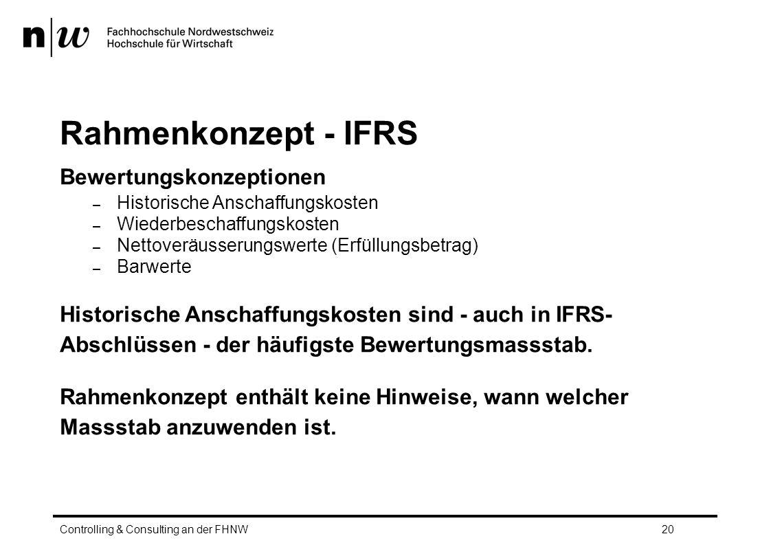 Rahmenkonzept - IFRS Bewertungskonzeptionen