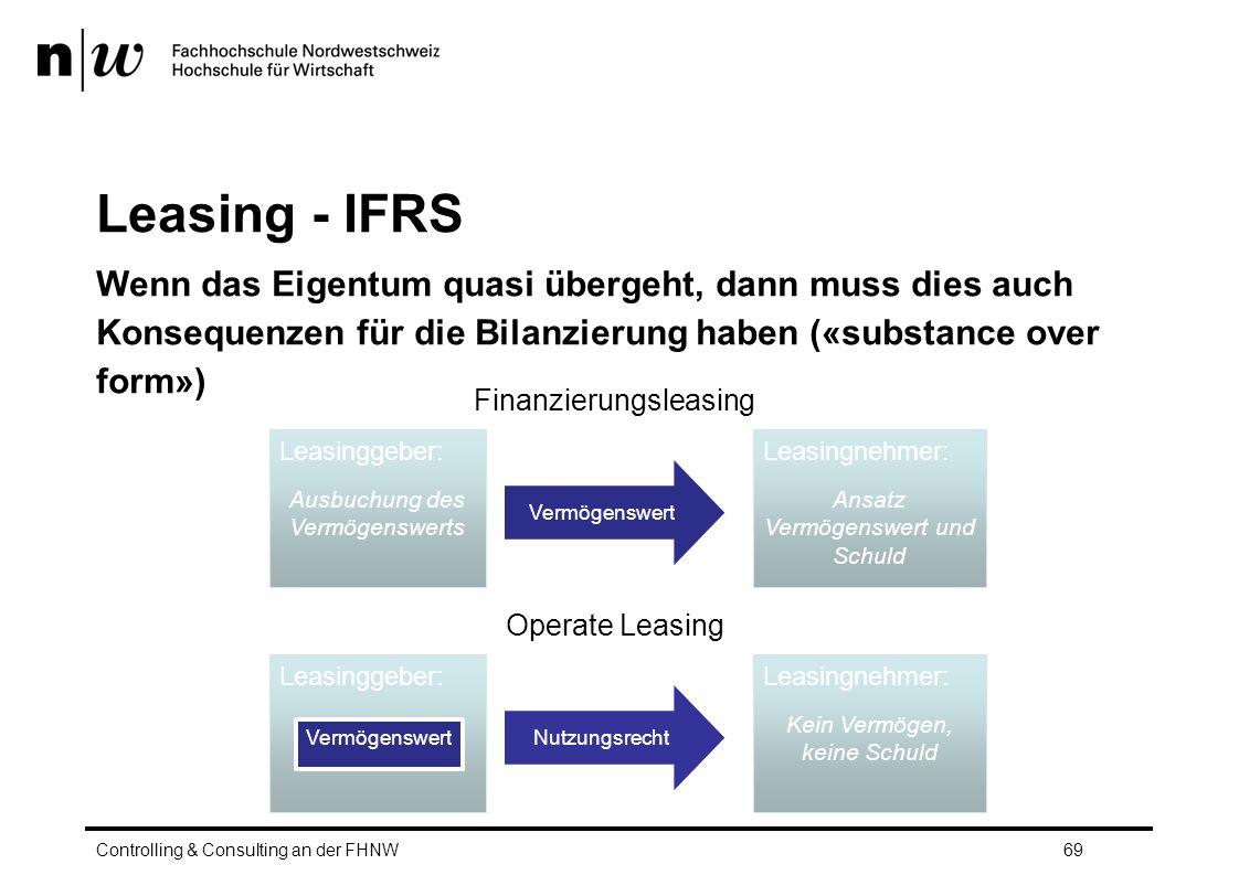 Leasing - IFRS Wenn das Eigentum quasi übergeht, dann muss dies auch Konsequenzen für die Bilanzierung haben («substance over form»)