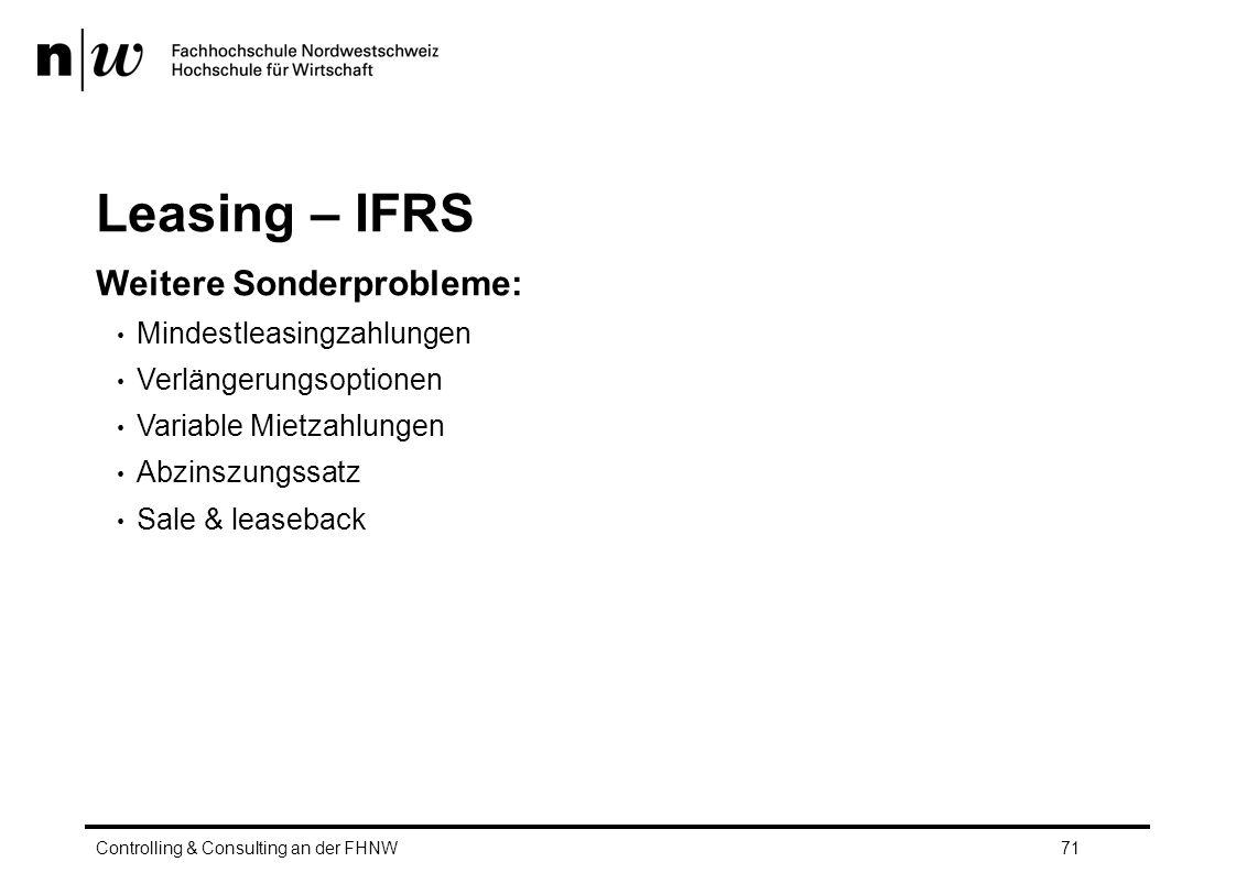Leasing – IFRS Weitere Sonderprobleme: Mindestleasingzahlungen