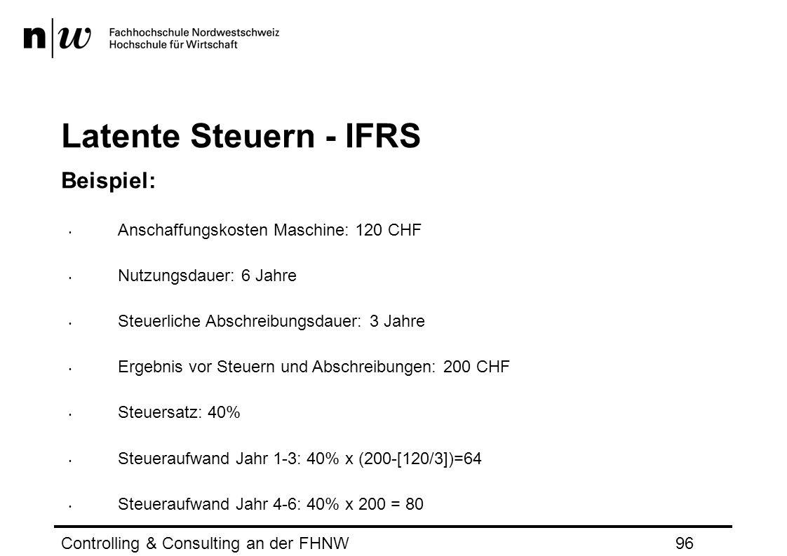 Latente Steuern - IFRS Beispiel: Anschaffungskosten Maschine: 120 CHF