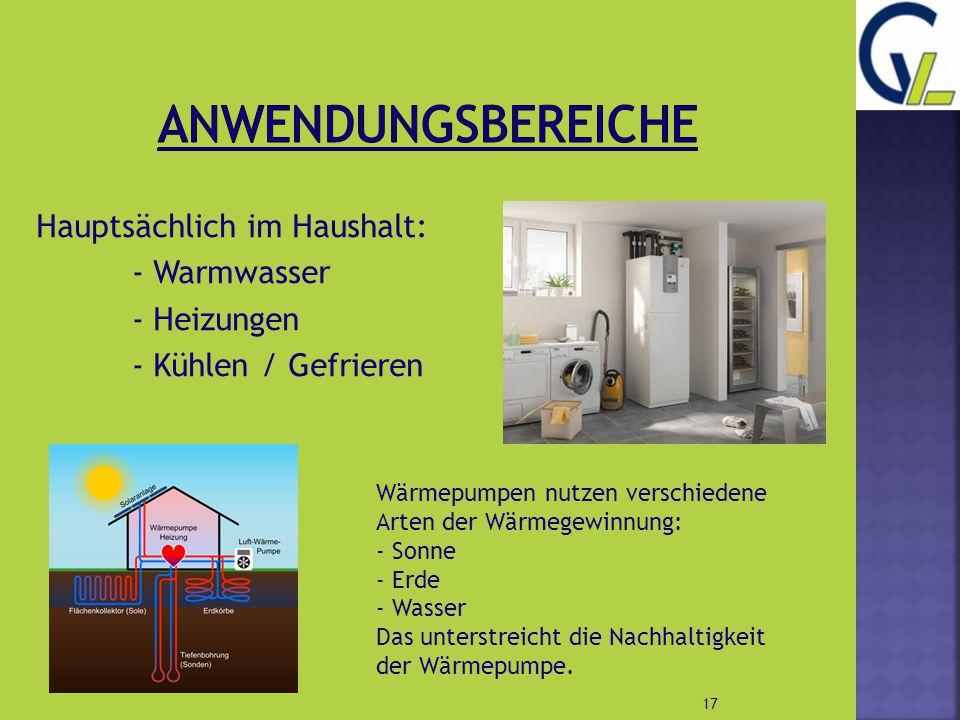 Anwendungsbereiche Hauptsächlich im Haushalt: - Warmwasser - Heizungen - Kühlen / Gefrieren