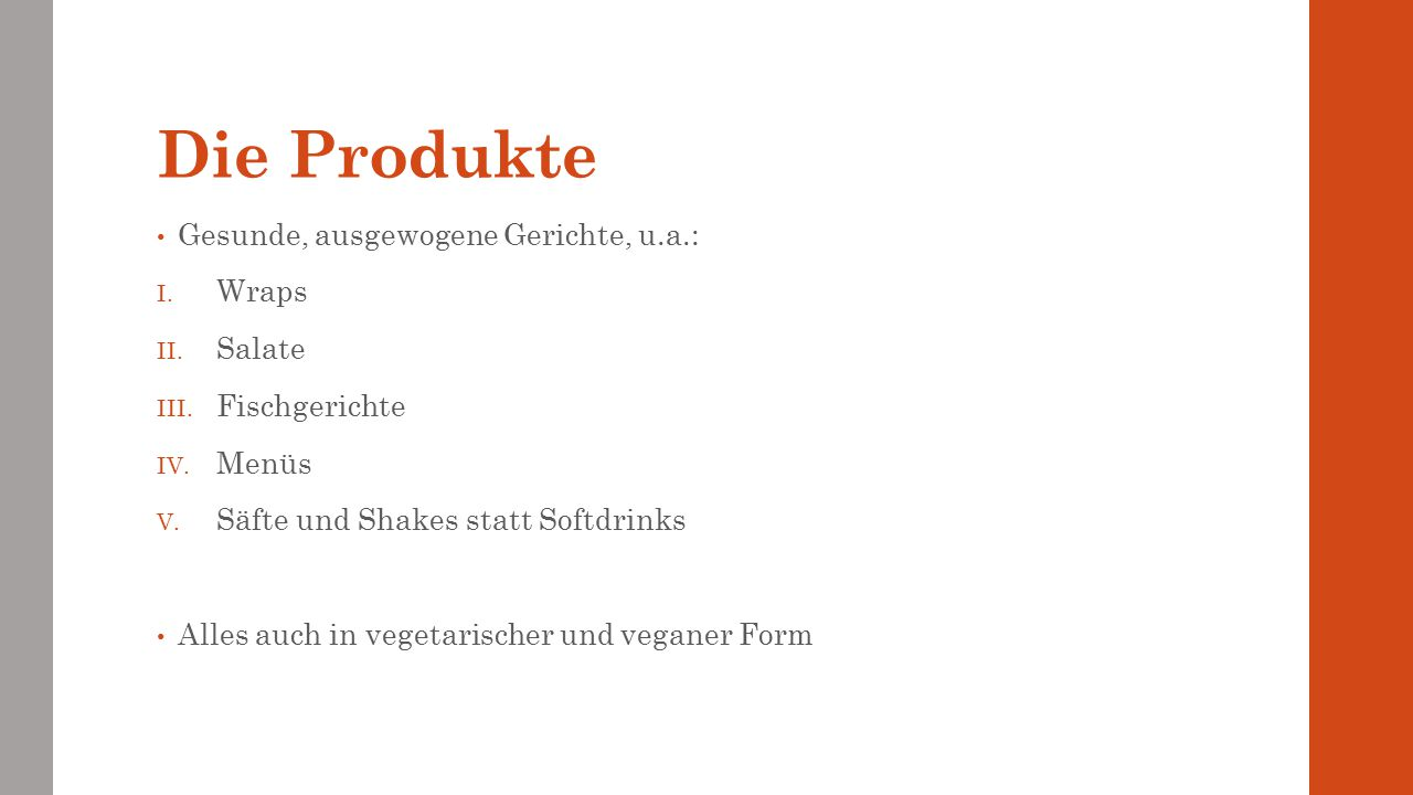 Die Produkte Gesunde, ausgewogene Gerichte, u.a.: Wraps Salate
