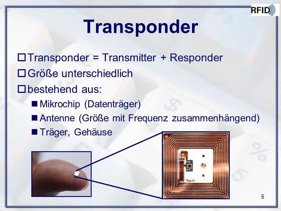 Transponder Transponder = Transmitter + Responder