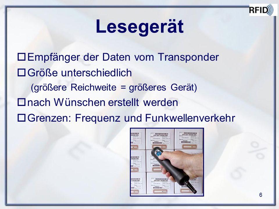 Lesegerät Empfänger der Daten vom Transponder Größe unterschiedlich