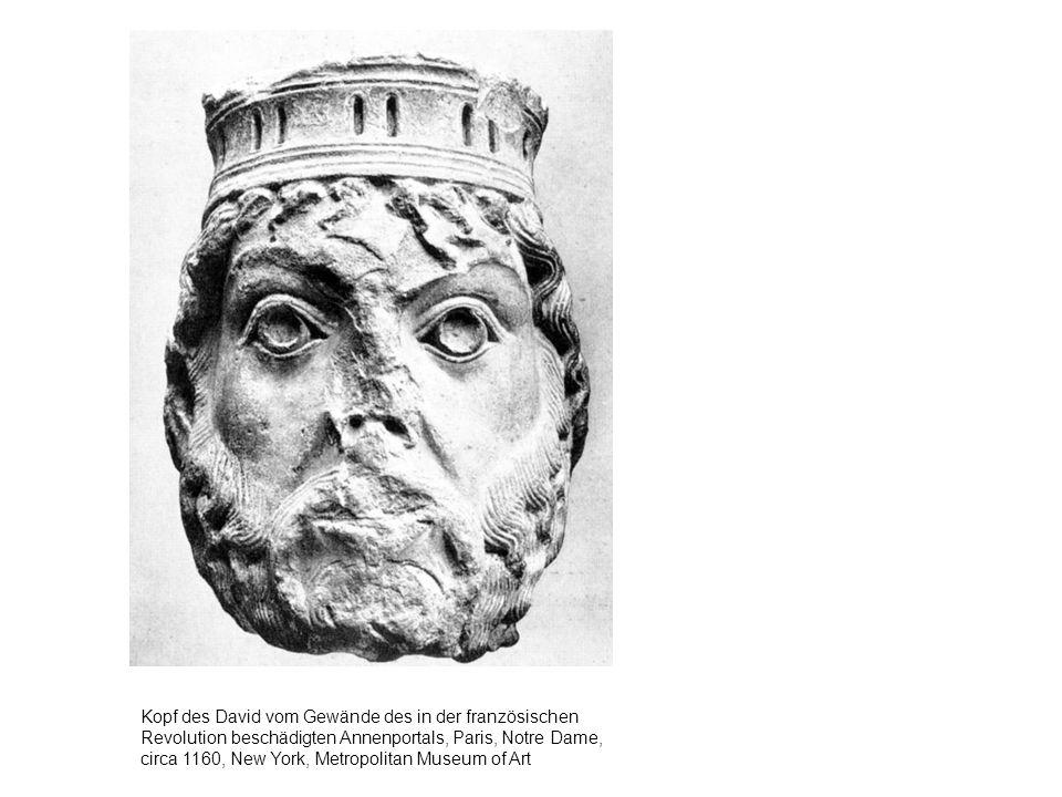 Kopf des David vom Gewände des in der französischen Revolution beschädigten Annenportals, Paris, Notre Dame, circa 1160, New York, Metropolitan Museum of Art