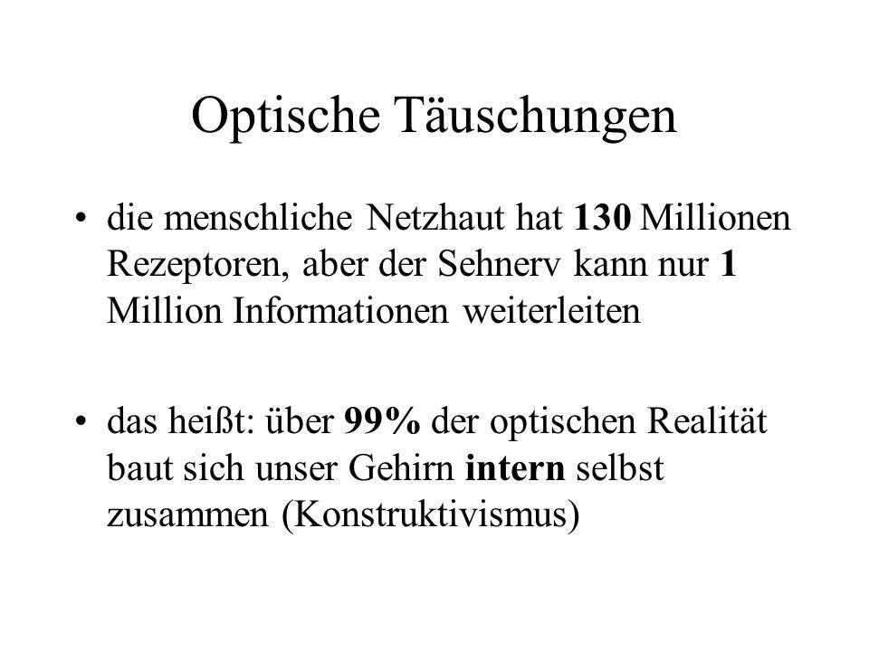 Optische Täuschungen die menschliche Netzhaut hat 130 Millionen Rezeptoren, aber der Sehnerv kann nur 1 Million Informationen weiterleiten.