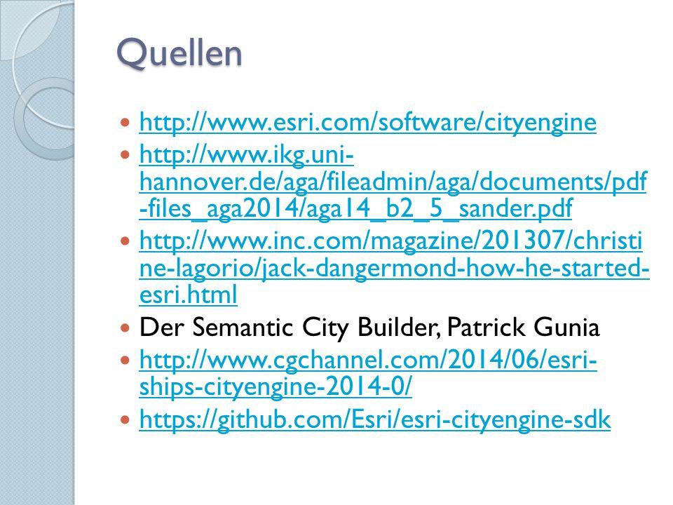 Quellen http://www.esri.com/software/cityengine