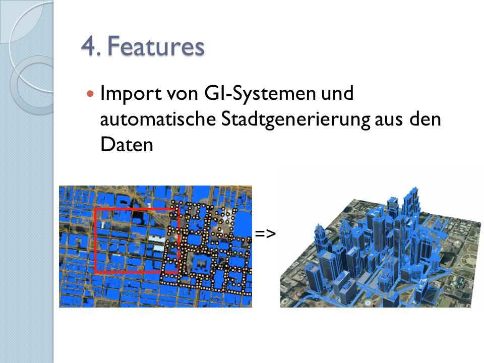 4. Features Import von GI-Systemen und automatische Stadtgenerierung aus den Daten =>