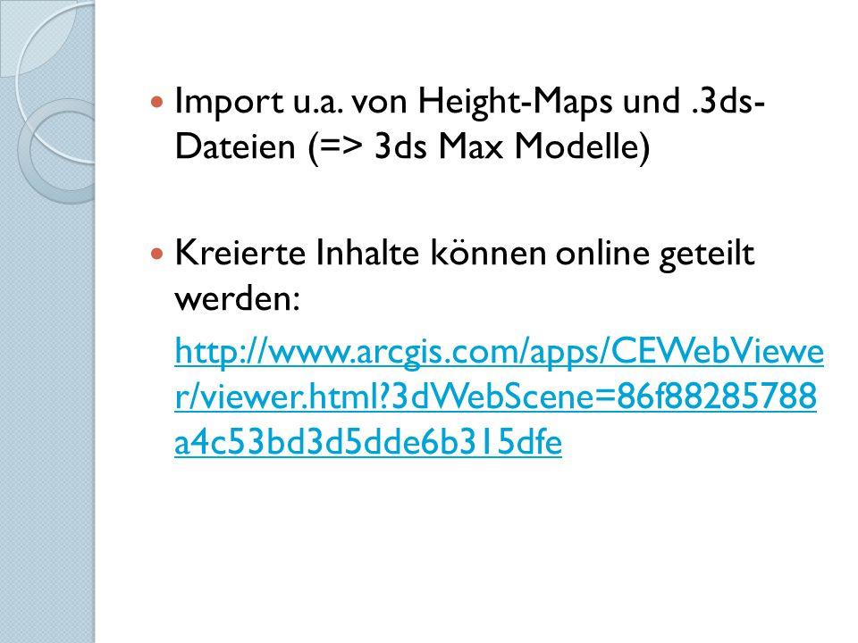 Import u.a. von Height-Maps und .3ds- Dateien (=> 3ds Max Modelle)