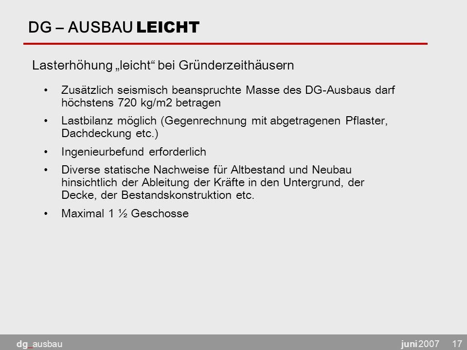 """DG – AUSBAU LEICHT Lasterhöhung """"leicht bei Gründerzeithäusern"""