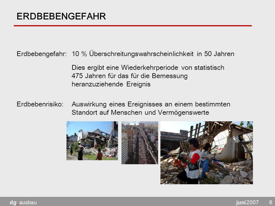 ERDBEBENGEFAHR Erdbebengefahr: 10 % Überschreitungswahrscheinlichkeit in 50 Jahren.