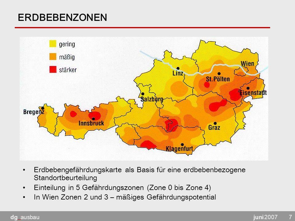 ERDBEBENZONEN Erdbebengefährdungskarte als Basis für eine erdbebenbezogene Standortbeurteilung. Einteilung in 5 Gefährdungszonen (Zone 0 bis Zone 4)
