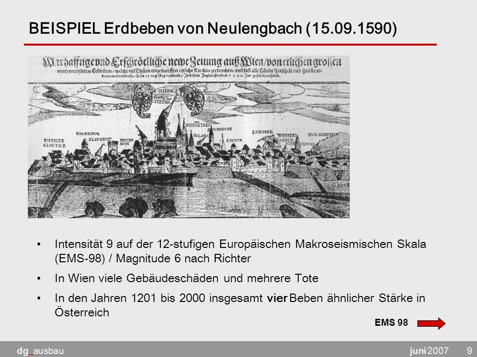 BEISPIEL Erdbeben von Neulengbach (15.09.1590)