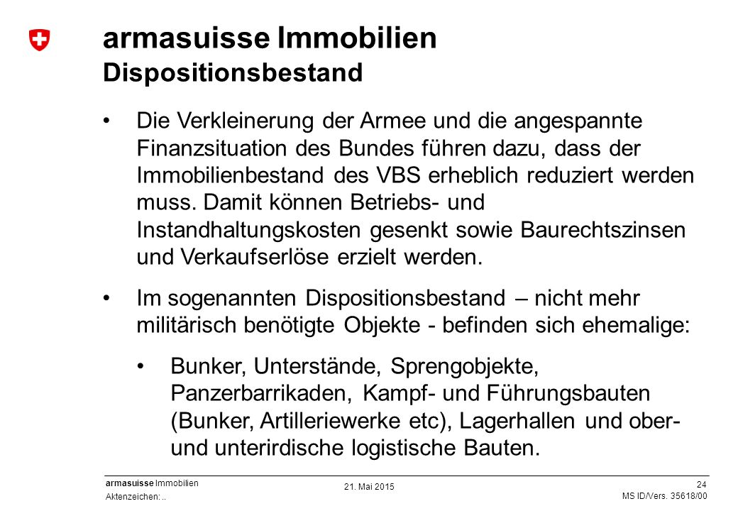 armasuisse Immobilien Dispositionsbestand