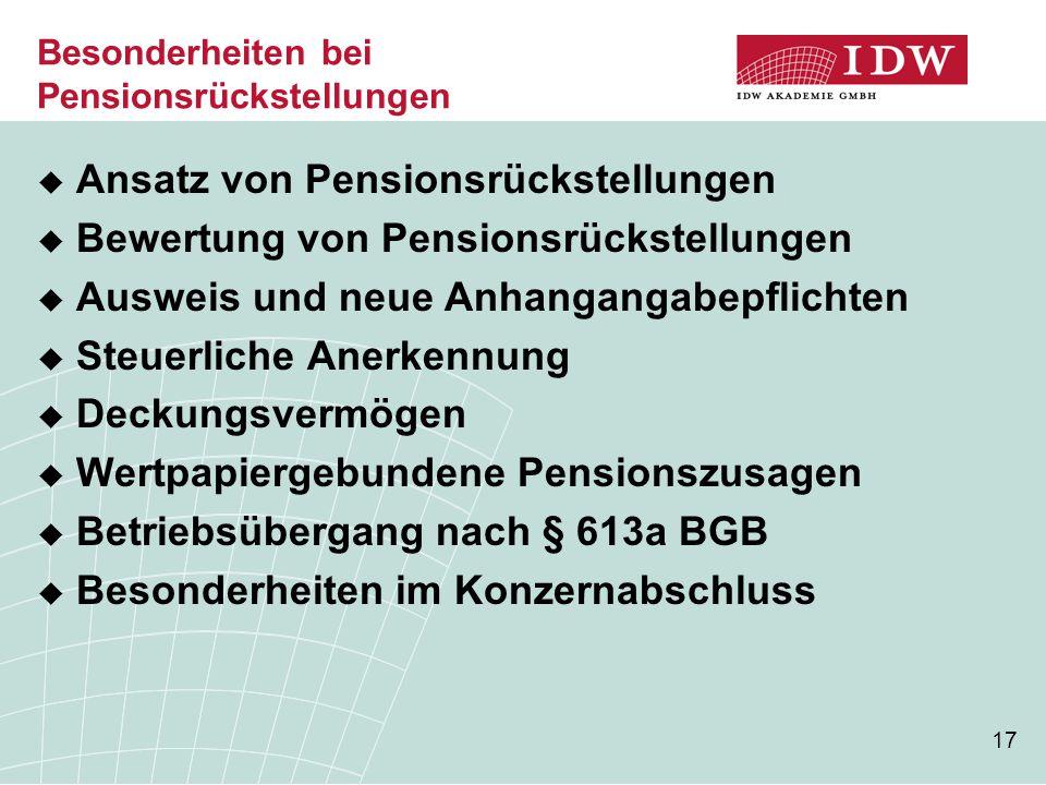 Besonderheiten bei Pensionsrückstellungen