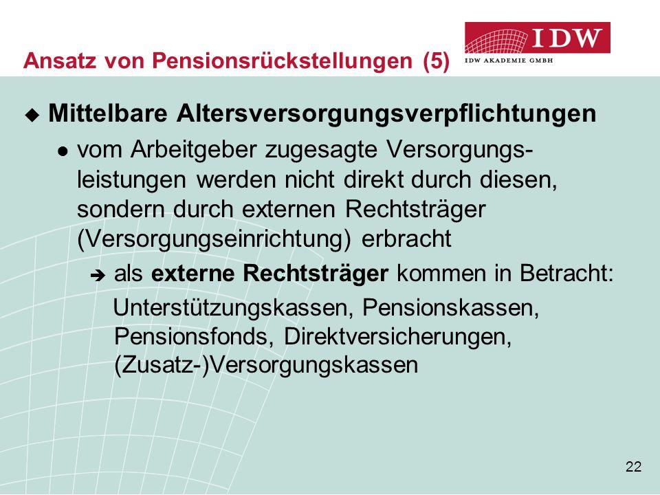 Ansatz von Pensionsrückstellungen (5)