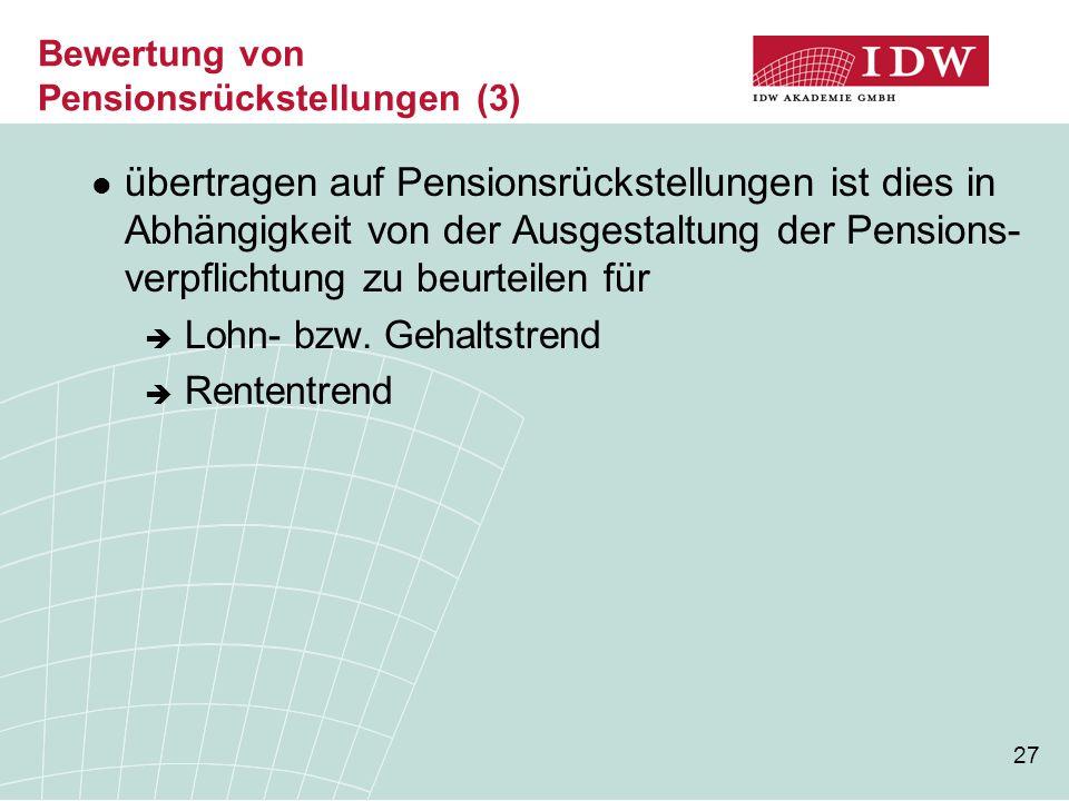Bewertung von Pensionsrückstellungen (3)