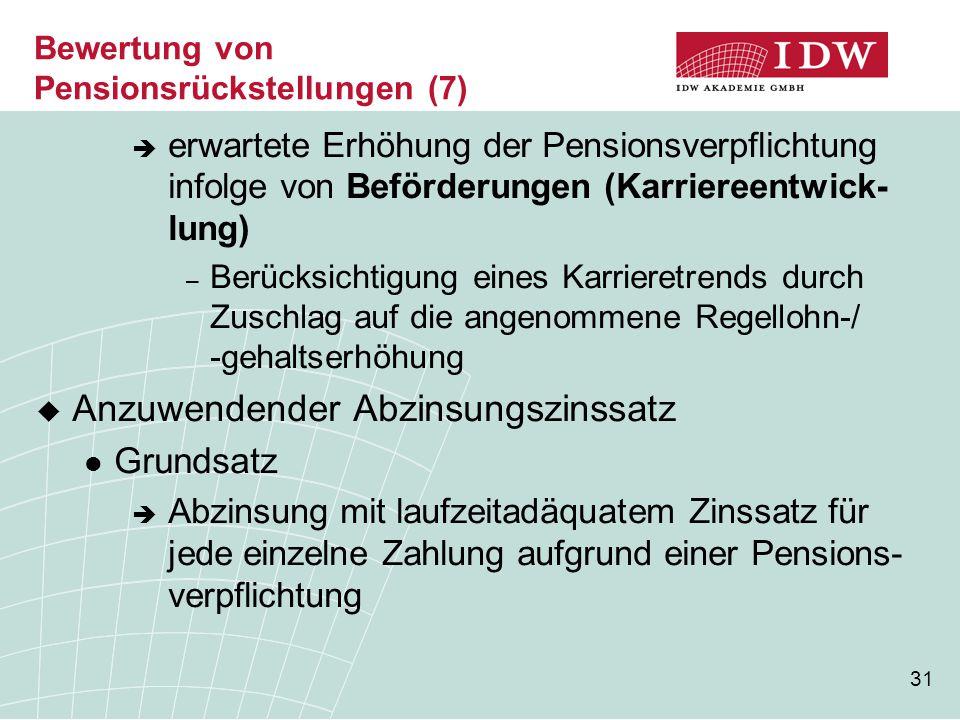 Bewertung von Pensionsrückstellungen (7)