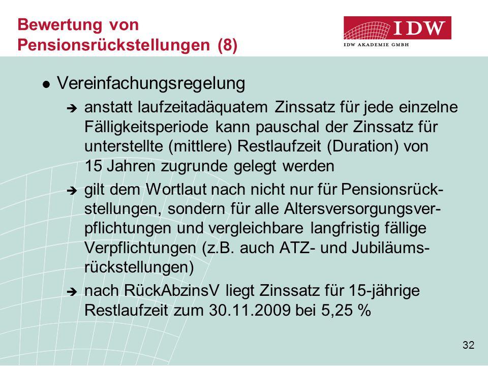 Bewertung von Pensionsrückstellungen (8)