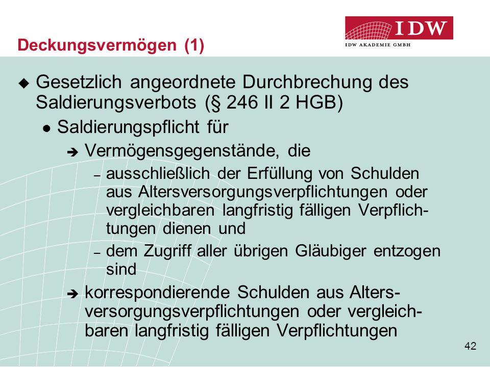 Deckungsvermögen (1) Gesetzlich angeordnete Durchbrechung des Saldierungsverbots (§ 246 II 2 HGB) Saldierungspflicht für.