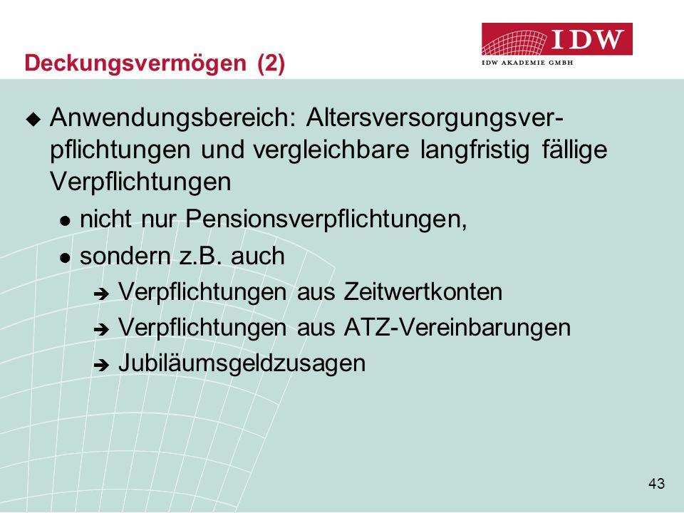 Deckungsvermögen (2) Anwendungsbereich: Altersversorgungsver- pflichtungen und vergleichbare langfristig fällige Verpflichtungen.