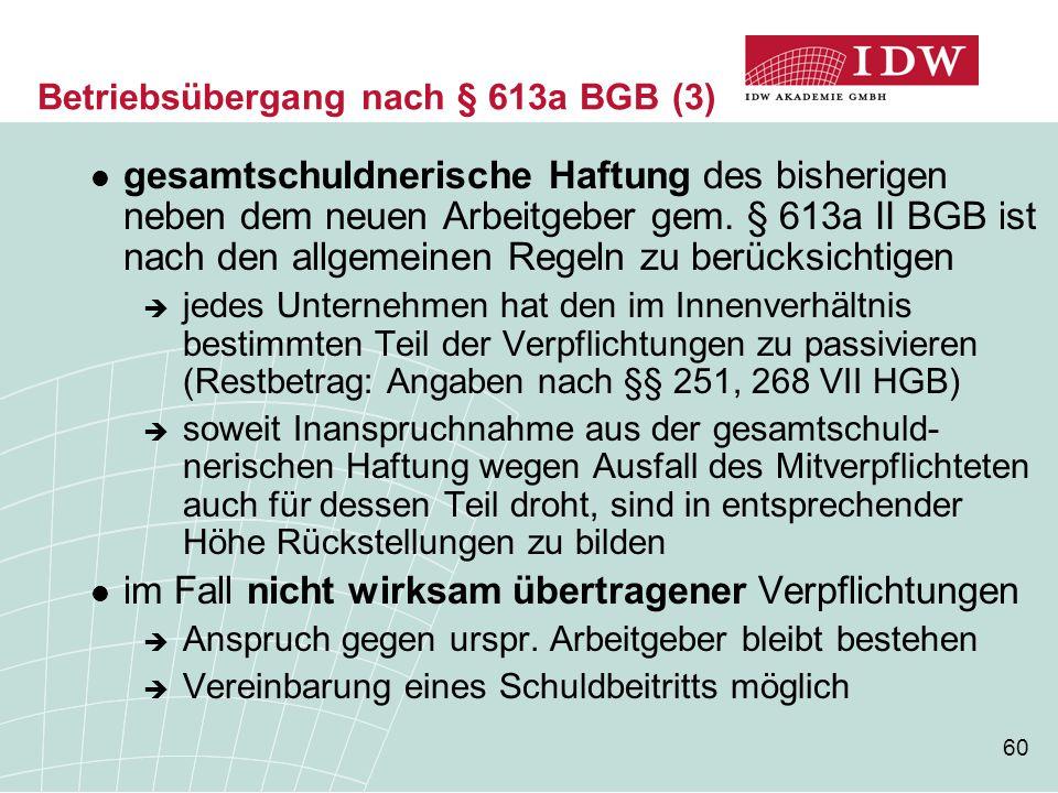 Betriebsübergang nach § 613a BGB (3)