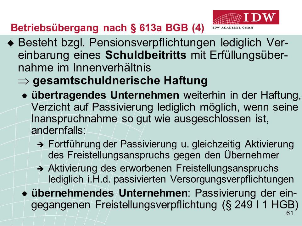 Betriebsübergang nach § 613a BGB (4)