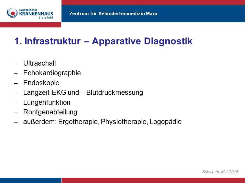 1. Infrastruktur – Apparative Diagnostik