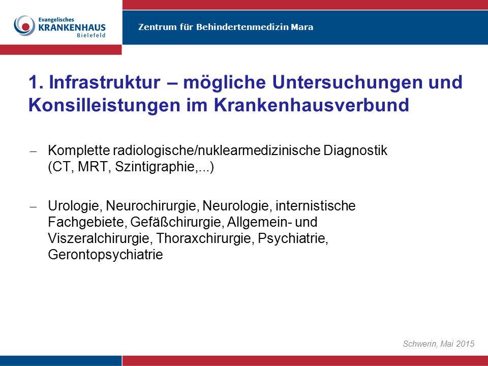1. Infrastruktur – mögliche Untersuchungen und Konsilleistungen im Krankenhausverbund