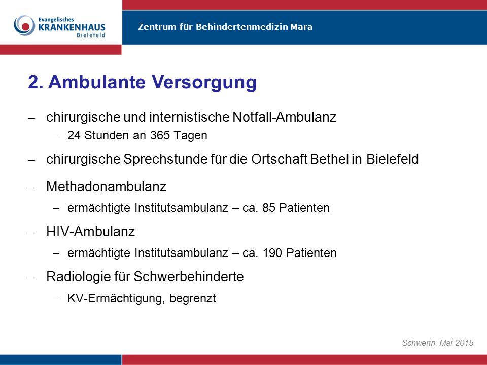 2. Ambulante Versorgung chirurgische und internistische Notfall-Ambulanz. 24 Stunden an 365 Tagen.