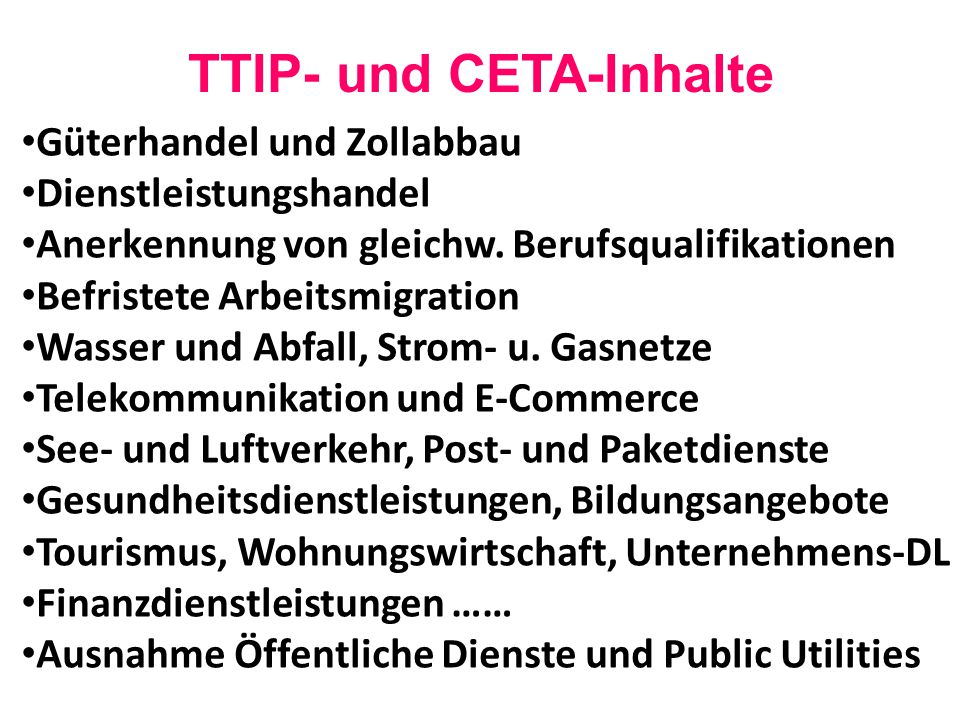 TTIP- und CETA-Inhalte