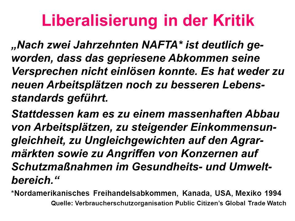 Liberalisierung in der Kritik
