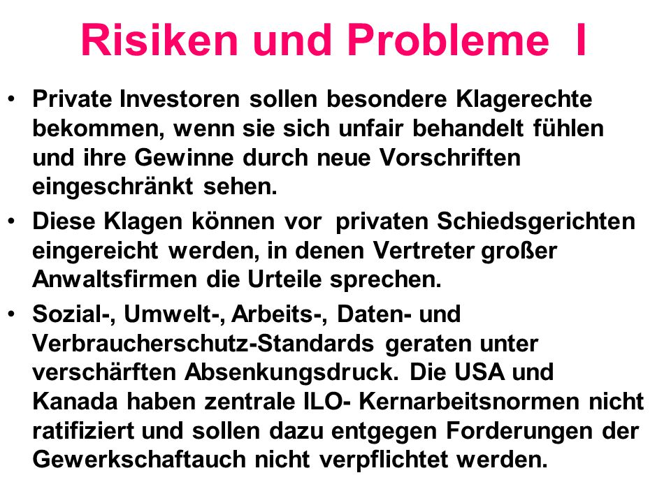 Risiken und Probleme I