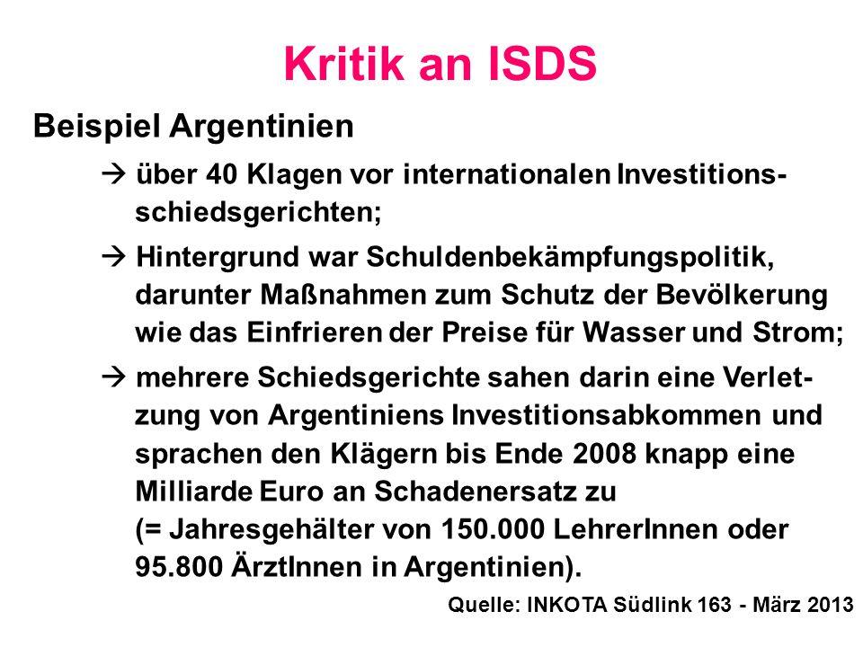 Kritik an ISDS Beispiel Argentinien