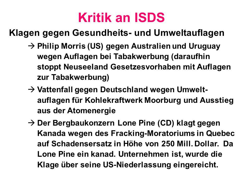 Kritik an ISDS Klagen gegen Gesundheits- und Umweltauflagen