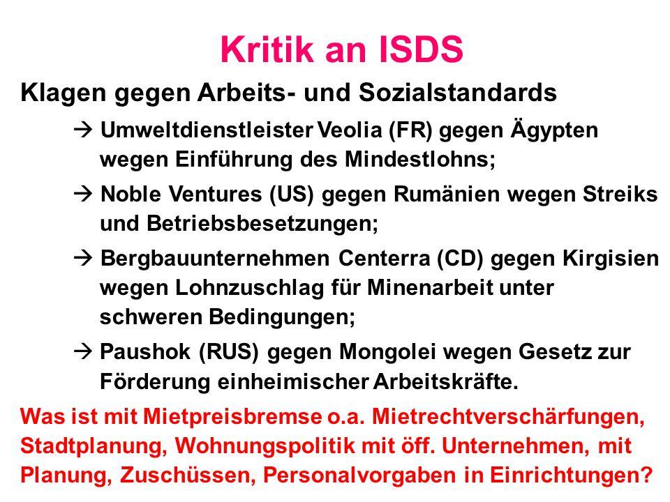 Kritik an ISDS Klagen gegen Arbeits- und Sozialstandards