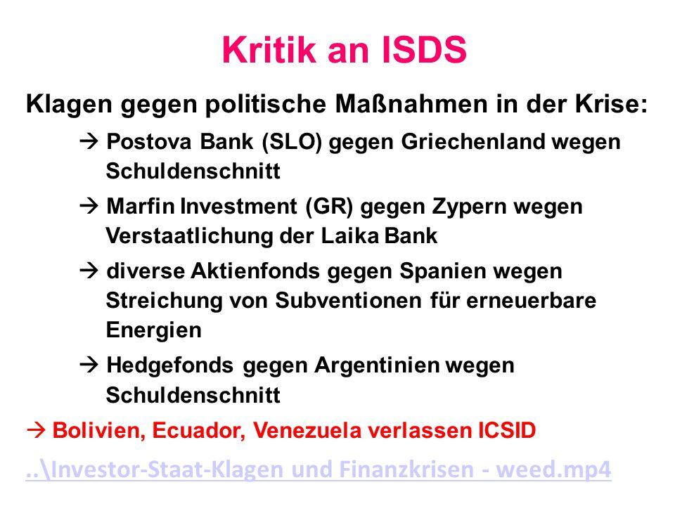 Kritik an ISDS Klagen gegen politische Maßnahmen in der Krise: