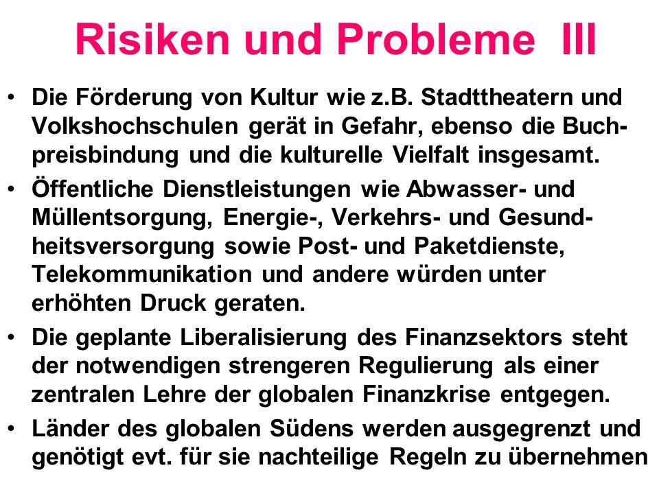 Risiken und Probleme III