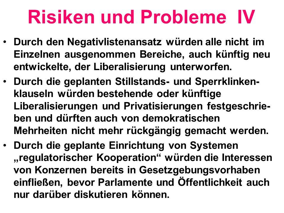 Risiken und Probleme IV