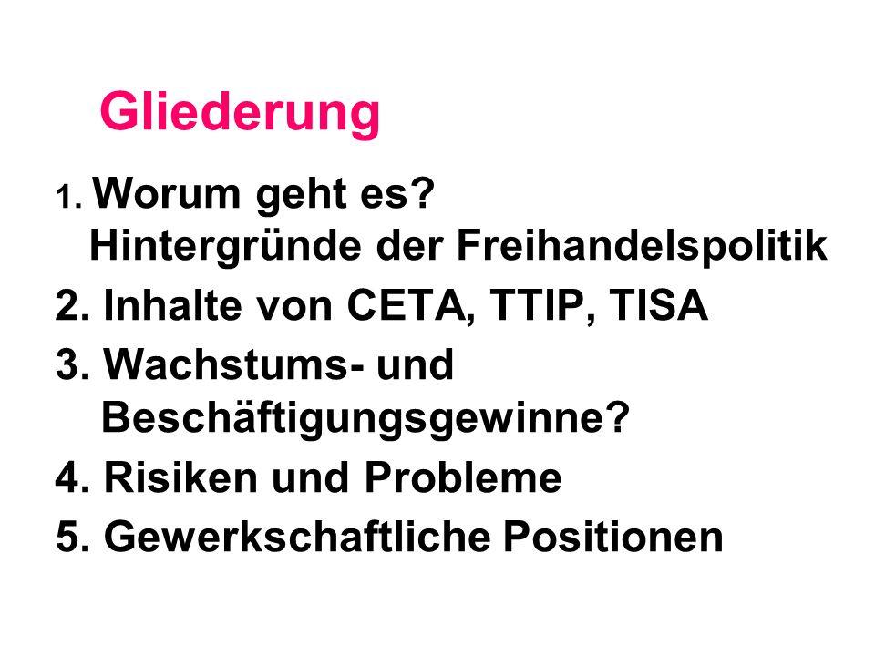 Gliederung 2. Inhalte von CETA, TTIP, TISA