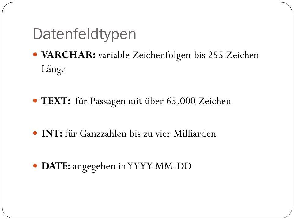 Datenfeldtypen VARCHAR: variable Zeichenfolgen bis 255 Zeichen Länge