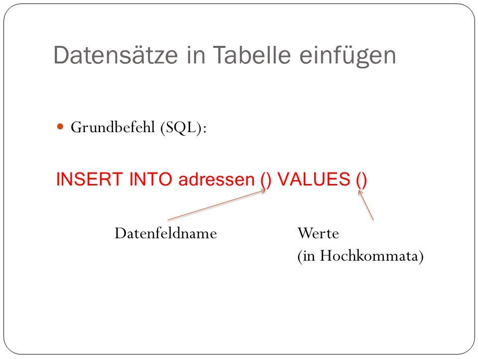 Datensätze in Tabelle einfügen