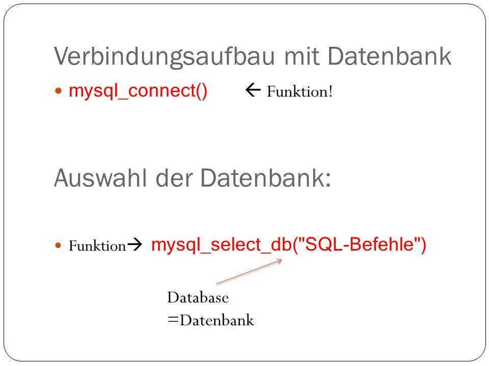 Verbindungsaufbau mit Datenbank
