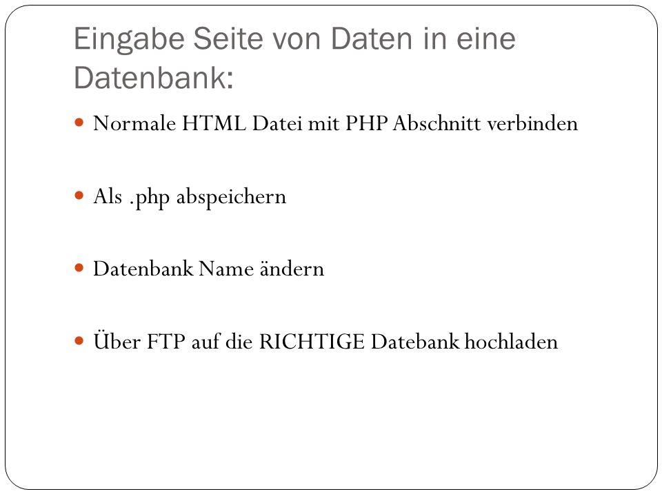 Eingabe Seite von Daten in eine Datenbank: