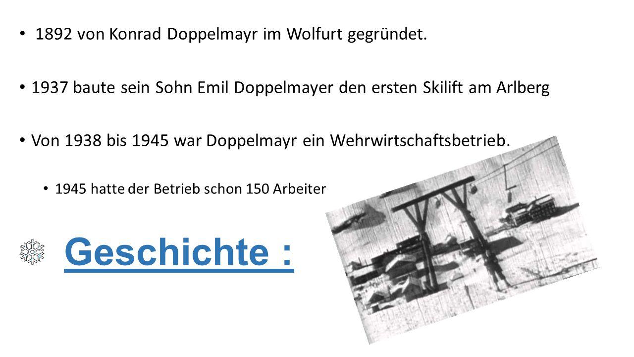Geschichte : 1892 von Konrad Doppelmayr im Wolfurt gegründet.