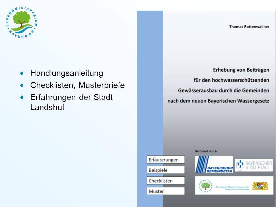 Handlungsanleitung Checklisten, Musterbriefe Erfahrungen der Stadt Landshut