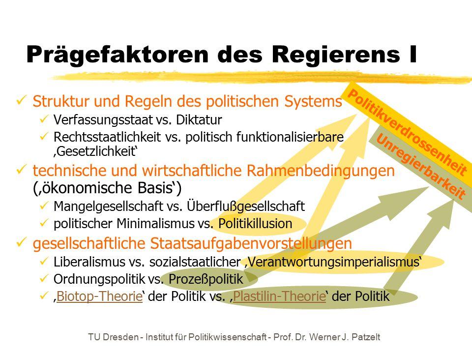 Prägefaktoren des Regierens I
