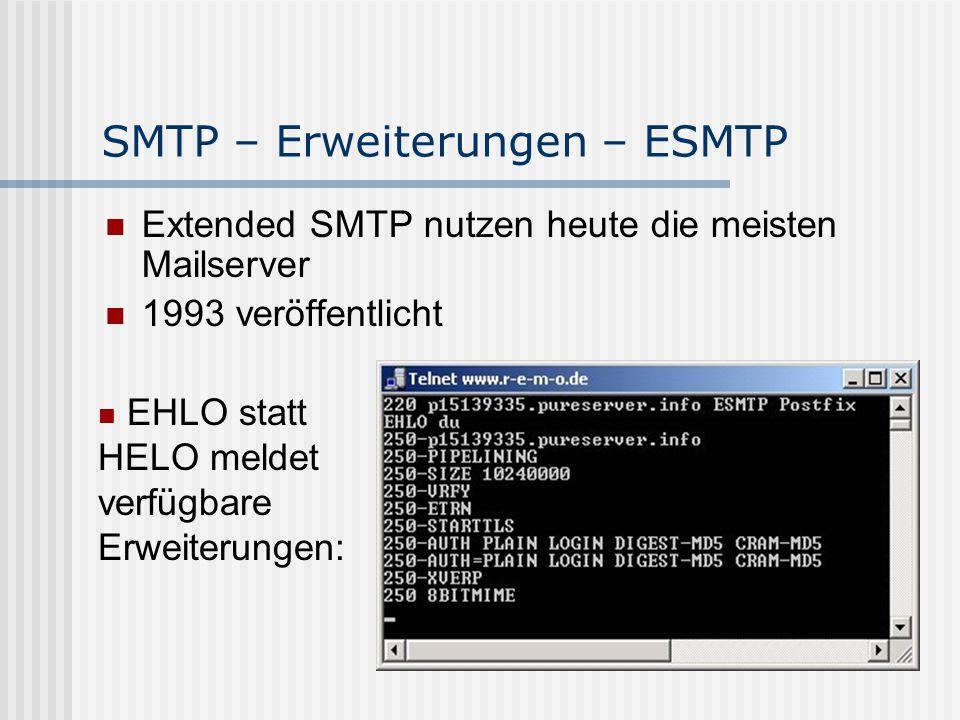 SMTP – Erweiterungen – ESMTP