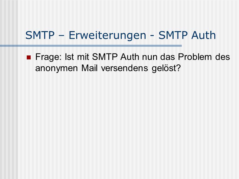 SMTP – Erweiterungen - SMTP Auth