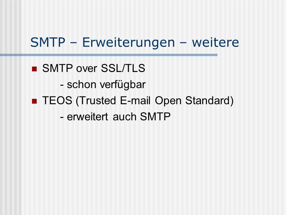 SMTP – Erweiterungen – weitere